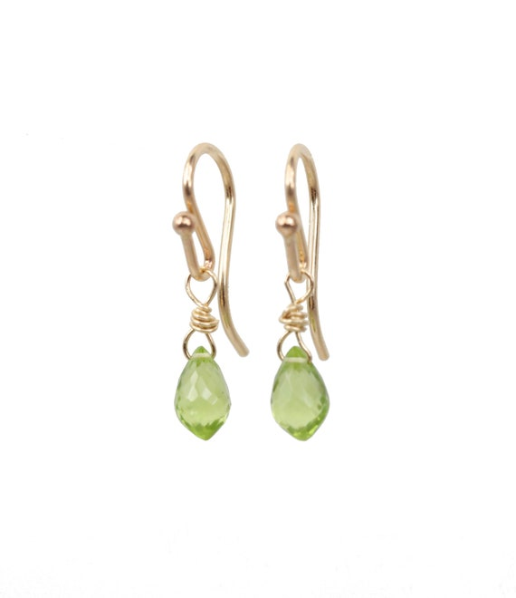 Dainty Peridot Drop Earrings * Lime Green Gemstone * August Birthstone * Birthday Gift Idea