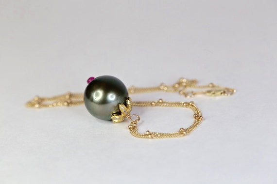 Large Black Tahitian Pearl Necklace with Pave Diamond and Ruby Accents