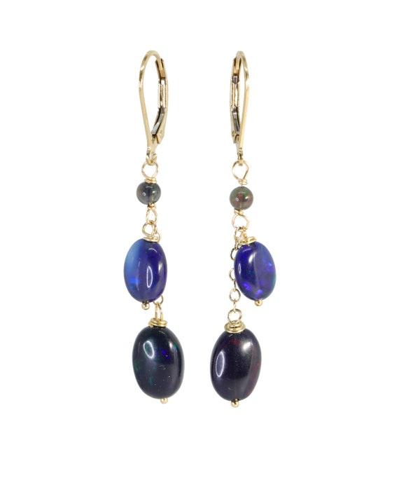 Double Blue Black Opal Oval Drop Earring*Genuine Ethiopian Opal*14k Gold Filled*Mother's Day Gift Idea for Her*Women's Jewelry*Graduation