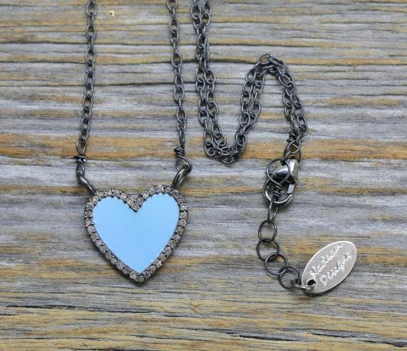 Blue Enamel Diamond Encrusted Heart Necklace