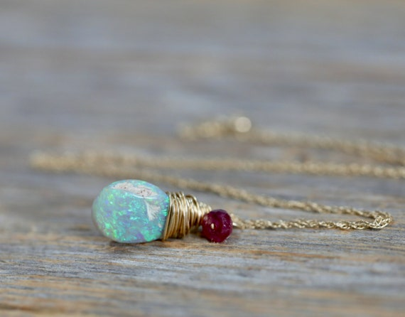 14k Gold Australian Opal Gemstone Pendant Necklace * Solid 14k Gold *Ruby Gemstone October Birthday birthstone Gift Idea for Her