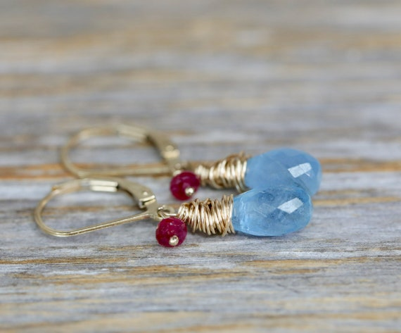 Aquamarine Teardrop Earring 14k gold Filled Ruby and Aquamarine Genuine Gemstones- March Birthstone Birthday Gift for Her