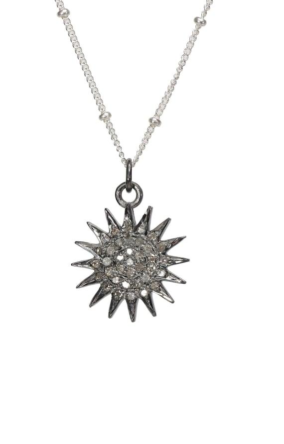 Pave Diamond Sun Necklace