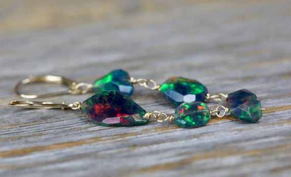 Ethiopian Black Opal Mismatch Earring