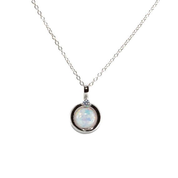 White Opal Sterling Silver Round Circle Pendant Necklace-Holiday Gift Idea- Women's Jewelry- Stocking Stuffer