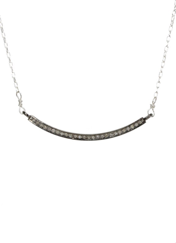 Diamond Curved Bar Smile Necklace*Metal Choices