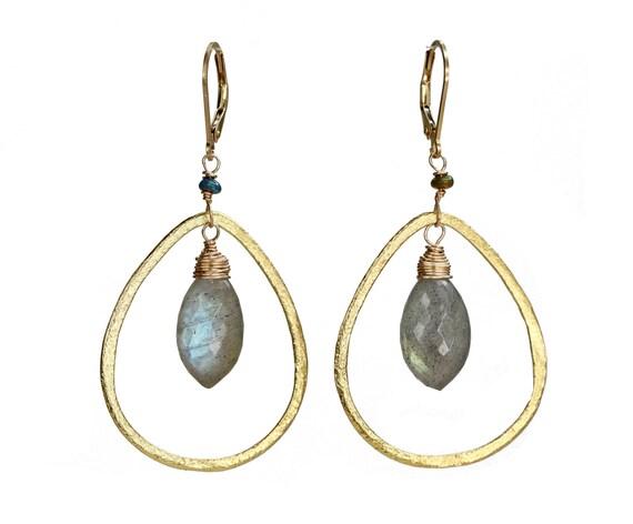 Green Labradorite Blue Black Opal Front Facing Gold Teardrop Chandelier Hoop Earrings Simple Modern Elegant Earring Gift for Her Boho