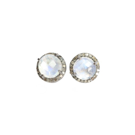 Moonstone diamond Halo Stud Earring *10mm pave diamond Rainbow Moonstone halo round moonstone gemstone stud earrings*Mother's Day gift Idea
