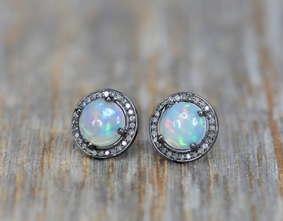 Large Opal Stud Earrings* white opal stud genuine pave diamond halo*Ethiopian opal gemstone* Statement*October gift for her* Mother's Day