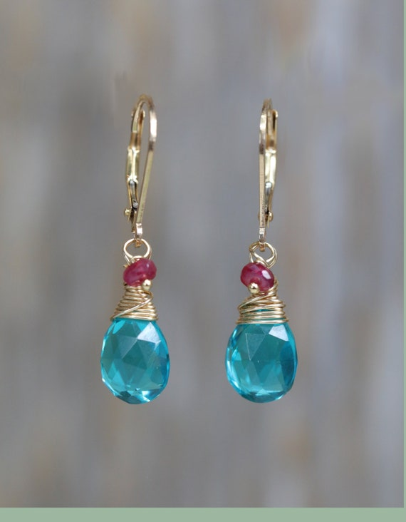 apatite quartz and ruby earrings 14K yellow gold filled ruby earring teal gemstone earring gift for her genuine ruby earring