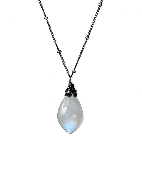 Rainbow Moonstone Drop Pendant Necklace*Genuine Moonstone Gemstone *Oxidized Sterling Silver*Birthstone*Women's Jewelry Gift Idea*Holiday