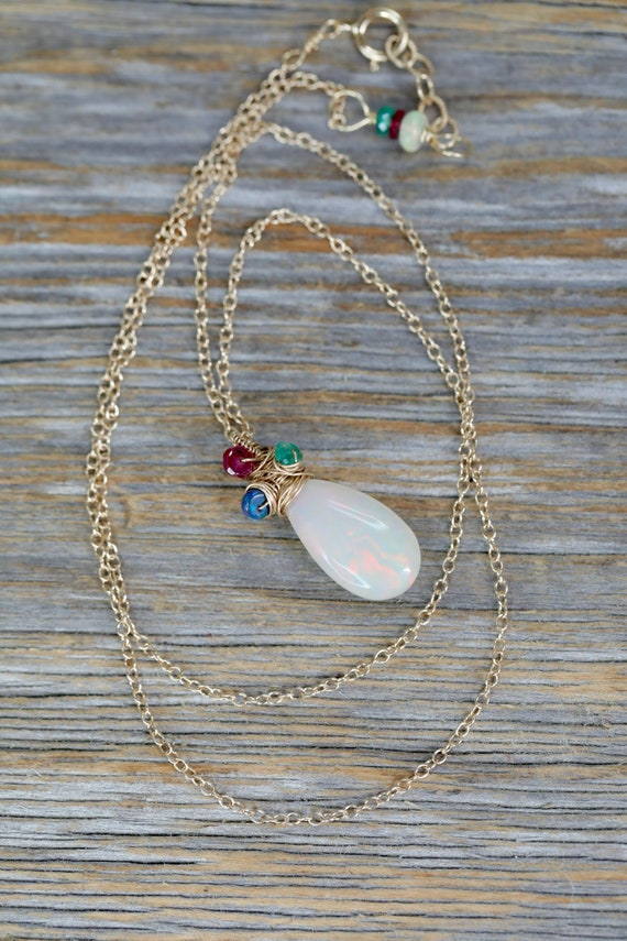 14k Gold Large White Opal Teardrop Necklace*Genuine Opal Gemstone ruby emerald and sapphire accents*Solid 14k Gold*October Birthstone Gift