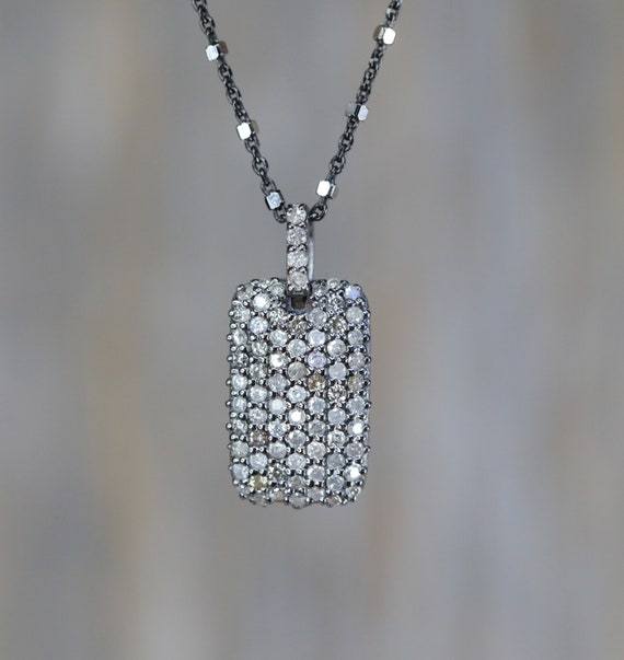Pave Diamond Dog Tag Necklace oxidized sterling silver Mixed metal with champagne and white full cut diamonds