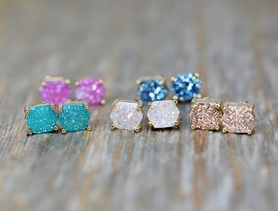 Druzy Quartz Prong Stud Earrings- Genuine Druzy Quartz Gemstones- Post Earring- Prong Setting- Rose, White, Pink, Blue, Champagne, Aqua