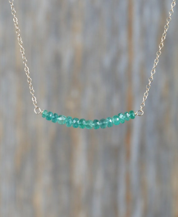 Emerald Gemstone Bar Necklace- Genuine Zambian Emeralds- 14k Gold filled- May Birthsotne Birthday Gift Idea for Her