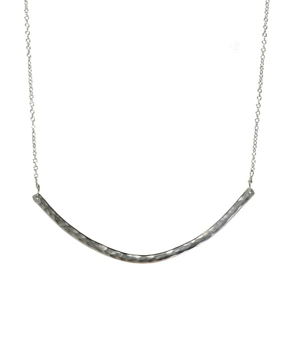"Sterling Silver Curved Bar Necklace EXTRA LARGE hand forged large curved bar necklace gift for her simple modern ""SMILE"" necklace"