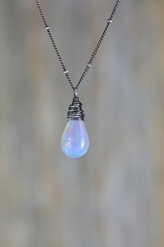 Natural Genuine Opal Gemstone Pear shaped Pendant Necklace 4 Carats *oxidized sterling silver* Ethiopian Welo Opal Solitaire* boho wedding