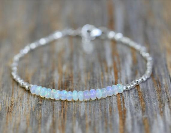 Genuine Opal Gemstone Sterling Silver Wrap Bracelet