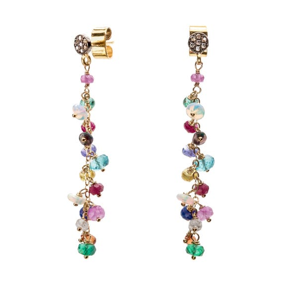 Long Colorful Gemstone Earrings