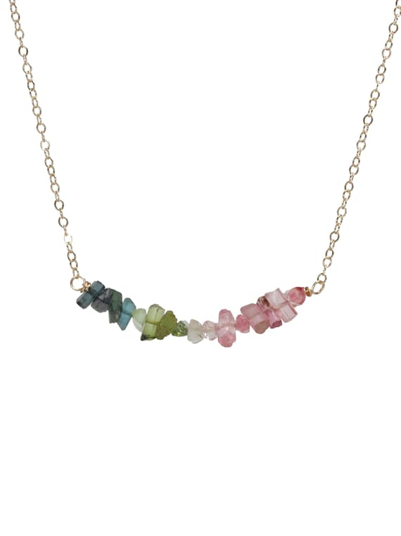 Rainbow Tourmaline Gemstone Bar Necklace-Genuine Tourmaline Ombre Necklace-October Birthstone-Boho Chic Necklace-Gemstone Necklace
