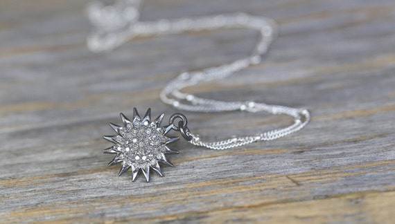 Pave DIAMOND sun necklace SUNBURST necklace pave diamonds oxidized sterling silver simple modern elegant holiday gifts for her diamonds