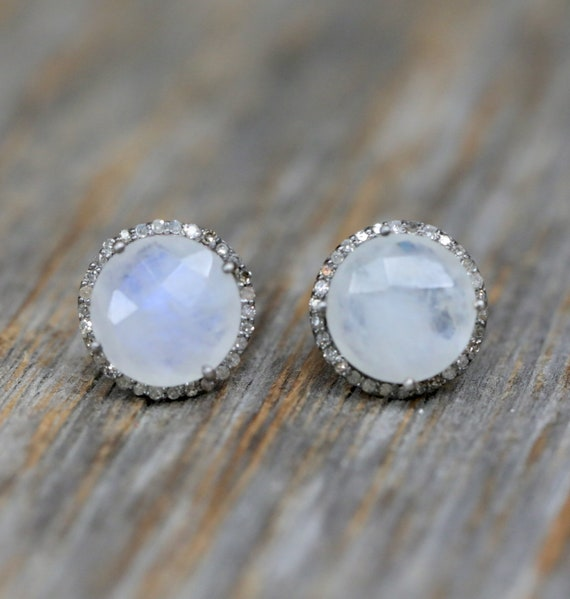 Moonstone Pave Diamond Round Stud Earring * Large Moonstone Circle Post *Oxidized Sterling Silver* genuine Diamond* Halo diamond