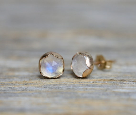 Rainbow Moonstone Stud Earring*Moonstone Gemstone* Gold Round Stud* Women's Jewelry Gift Idea*-6mm Bezel Setting
