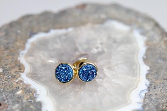 Blue DRUZY Stud earring- 8mm