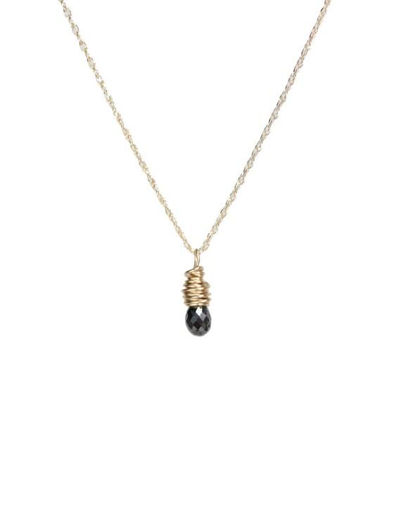 Black Diamond Necklace April Birthstone 14K Yellow Gold black Diamond Pendant Necklace 14K gold April Birthday Gift For Her Diamond Drop