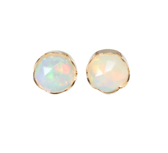 Opal Gemstone Stud Earring * Scalloped 14k gold FILLED bezel set * 6mm faceted rose cut opal earrings* Valentine's Day gift for her*wedding