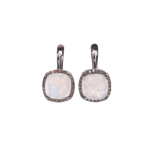 Rainbow Moonstone Gemstone Diamond Sterling Silver Cushion Drop Earrings- Women's Jewelry Gift Idea-10mm