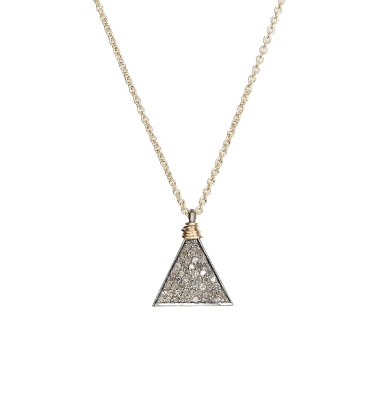Diamond Triangle Pendant Necklace Mixed Metal Geometric Triangle Necklace Mother's Day Gift For Her Graduation oxidized sterling silver