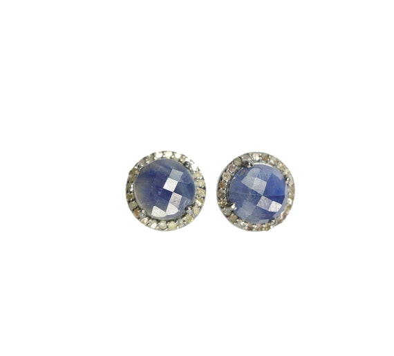 Blue Sapphire Diamond Stud Earring*10mm Round halo*Elegant Statement Earrings*September birthstone* gift for her* sterling silver