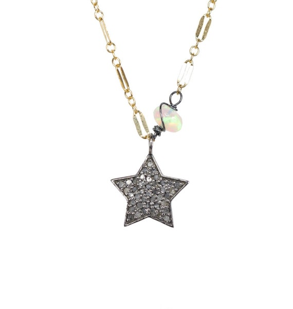 Genuine Diamond Star Opal Necklace