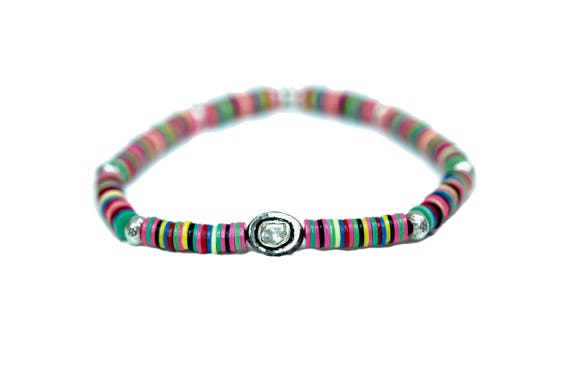 Private for S-rose cut diamond African vinyl bracelet gifts for her jigida bead bracelet record vinyl disc bracelet oxidized silver modern