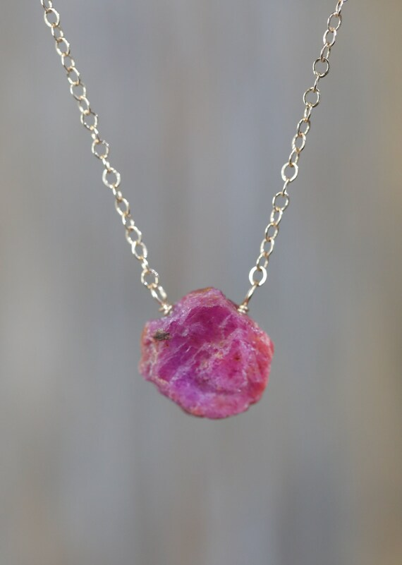 Raw Ruby Gemstone Pendant Necklace -Real Ruby- July Birthstone Birthday Women's Jewelry Gift Idea