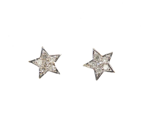14k Gold Pave Diamond Star Stud Earring* solid 14k yellow gold* Gift for Her* genuine pave diamond