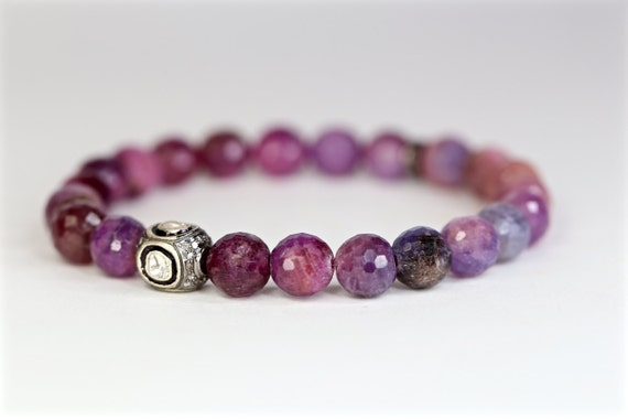 purple sapphire pink sapphire bracelet rose cut diamond pave diamond sapphire stretch bracelet boho stack bracelet gift for her lavender