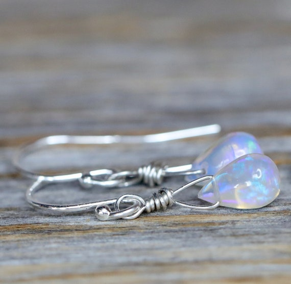Opal Teardrop Earrings in Sterling Silver October Birthstone Women's Jewelry Handmade Holiday Gift Idea Stocking Stuffer