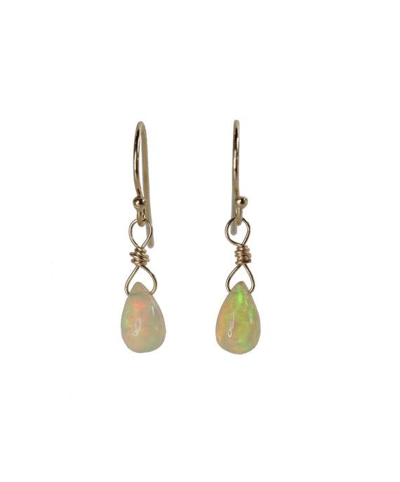 Small Opal Teardrop Earring*Fire Opal*Genuine Ethiopian opal gemstones*14k Gold Filled* Holiday Gift Idea* Stocking Stuffer