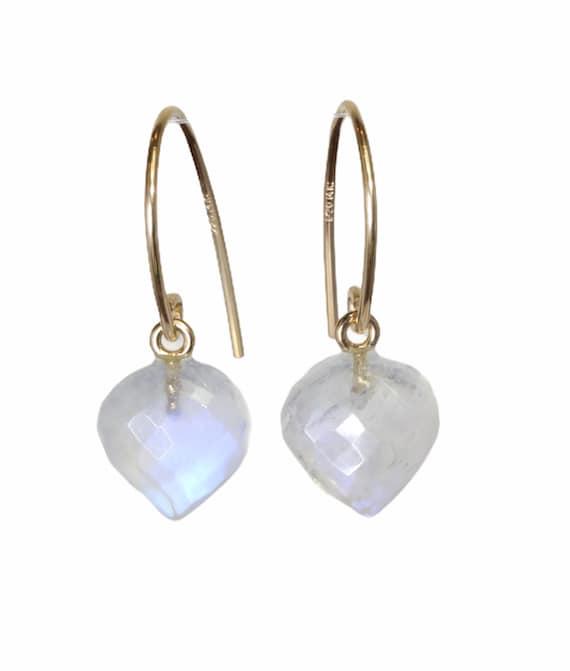 Rainbow Moonstone Heart Shaped Gemstone Earrings