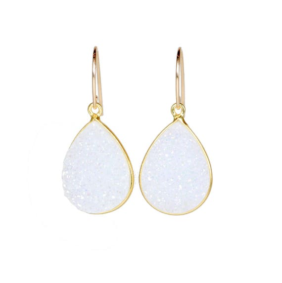 white druzy earrings Large white teardrop gemstone earring Mother's Day Gift For Her Wedding Bridesmaids sparkly Graduation