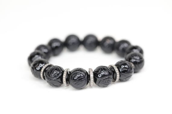 Carved Black Onyx Bracelet Diamond sterling silver Exquisite diamond stack bracelet elegant jewelry simple modern womens gift black gemstone
