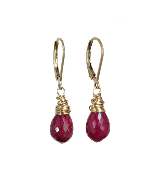 Ruby Earrings-Genuine Ruby Teardrops- 14k gold Filled- Holiday Gift Idea for Her- Women's Jewelry