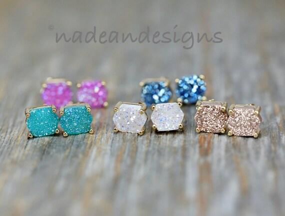 Druzy Quartz Stud Earrings- Genuine Druzy Quartz Gemstones- Post Earring- Prong Setting- Rose, White, Pink, Blue, Champagne, Aqua