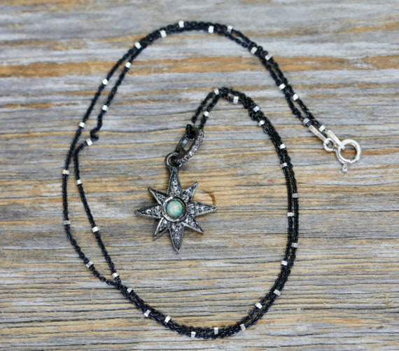 DIAMOND Opal STAR necklace* genuine pave diamonds oxidized sterling silver *Women's Jewelry Gift Idea* October Birthstone Holiday Gift