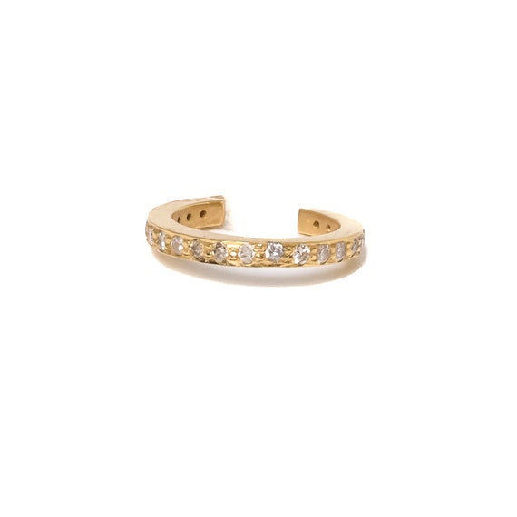 Diamond Cuff Earring no Piercing -Genuine Pave Diamonds 14k Gold- Women's Jewelry Gift Idea- Holiday Christmas