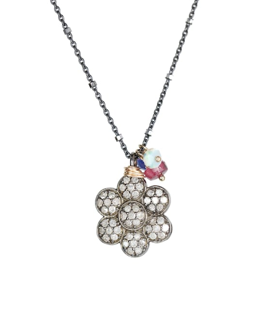 Diamond Flower Pendant Necklace Ruby Sapphire Australian Opal Accents* Genuine Pave Diamonds* Sterling Silver* Gift Idea for Her*Birthstone