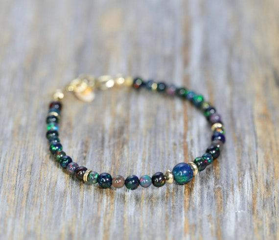 BLACK OPAL BRACELET Ethiopian opal gemstones- 14k Gold filled- unique round opal bracelet Women's Jewelry Holiday Gift Idea