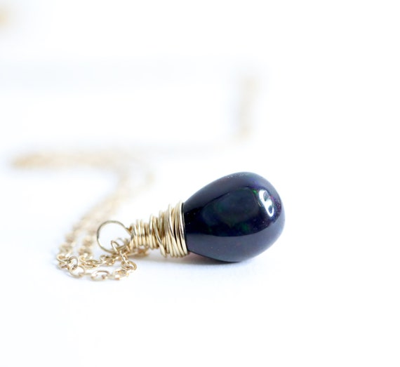 Black opal teardrop necklace* 3 carat Ethiopian Black Opal Gemstone*Valentine's Day Gift For Her*14 karat GOLD FILLED opal Pendant